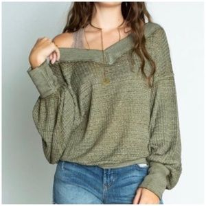 New Free People South Side Thermal Green Medium